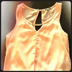 Pink Sheer Rhinestone Accent Blouse